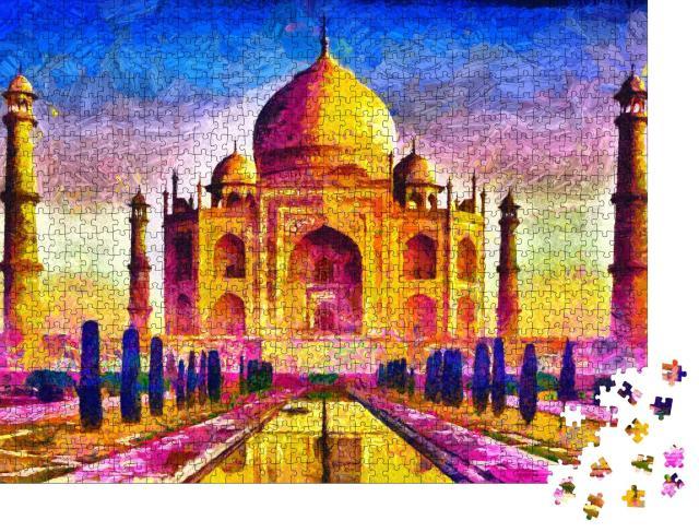 """Puzzle 1000 Teile """"Taj Mahal, bunte Architektur, Ölgemälde"""""""
