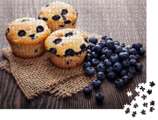 """Puzzle 1000 Teile """"Muffin mit Blaubeeren, süßes Gebäck"""""""