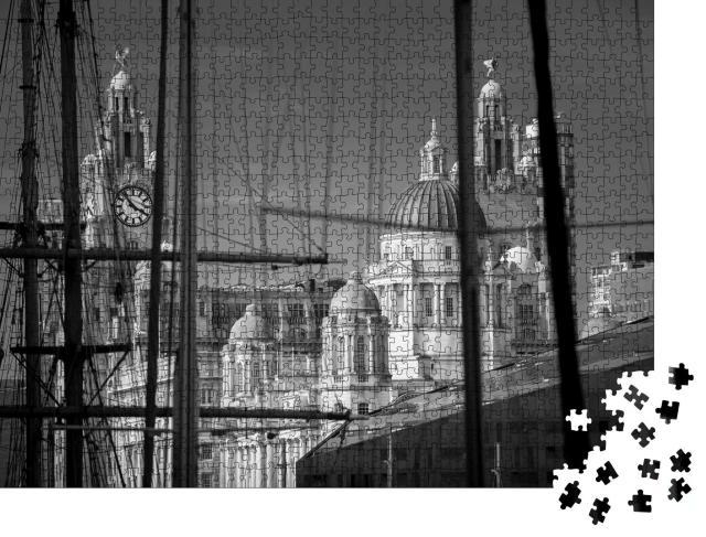"""Puzzle 1000 Teile """"Takelage und Masten von Schiffen am alten Hafen von Liverpool"""""""