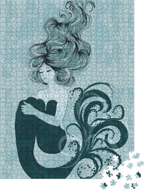 """Puzzle 1000 Teile """"Illustration einer schönen Meerjungfrau mit wallendem Haar"""""""