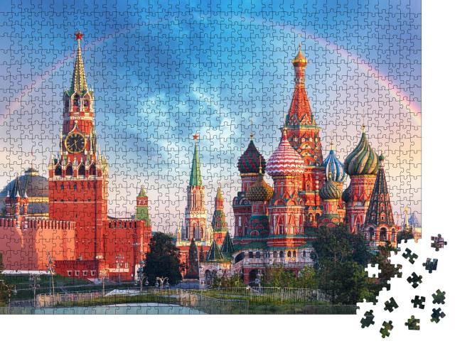 """Puzzle 1000 Teile """"Panoramablick auf den Roten Platz mit Moskauer Kreml und Regenbogen"""""""