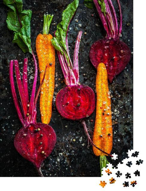 """Puzzle 1000 Teile """"Rohes Gemüse zum Braten auf einem Backblech"""""""