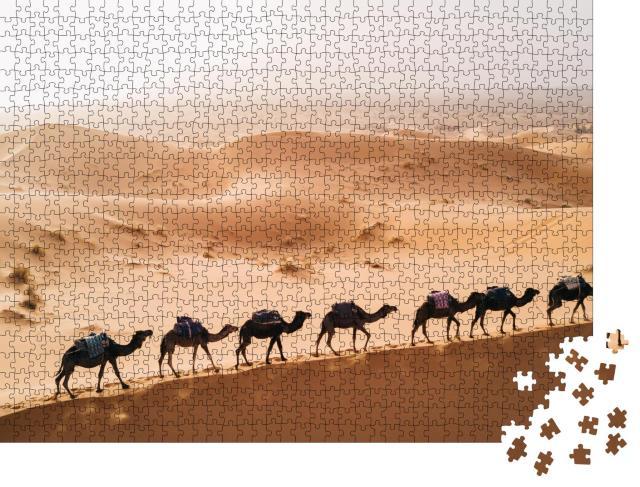 """Puzzle 1000 Teile """"Marokko: Kamel-Karawane in der Sahara, größte und heißeste Wüste der Welt"""""""