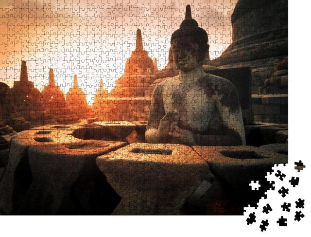 """Puzzle 1000 Teile """"Buddha-Statue in der Tempelanlage Borobudur, Indonesien"""""""