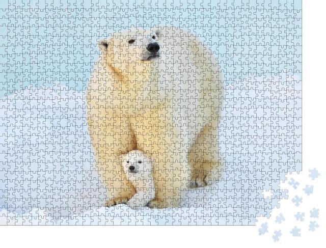 """Puzzle 1000 Teile """"Ein Eisbär mit einem kleinen Bärenjungen im Schnee"""""""