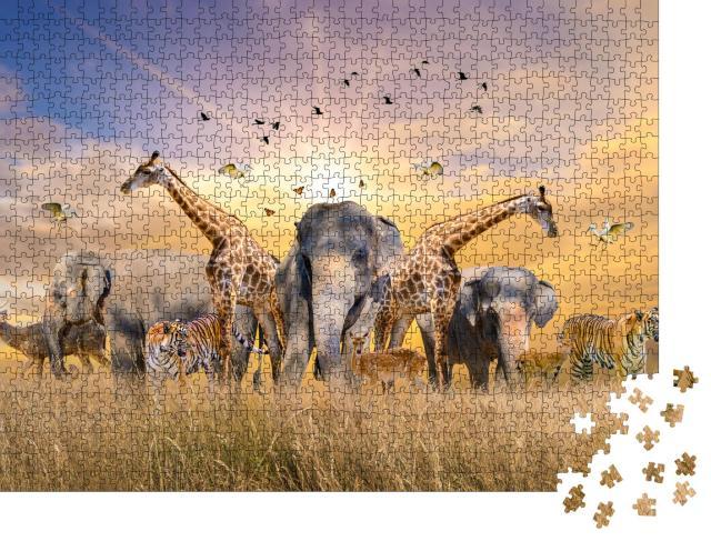 """Puzzle 1000 Teile """"Wilde Tiere der Wüste"""""""