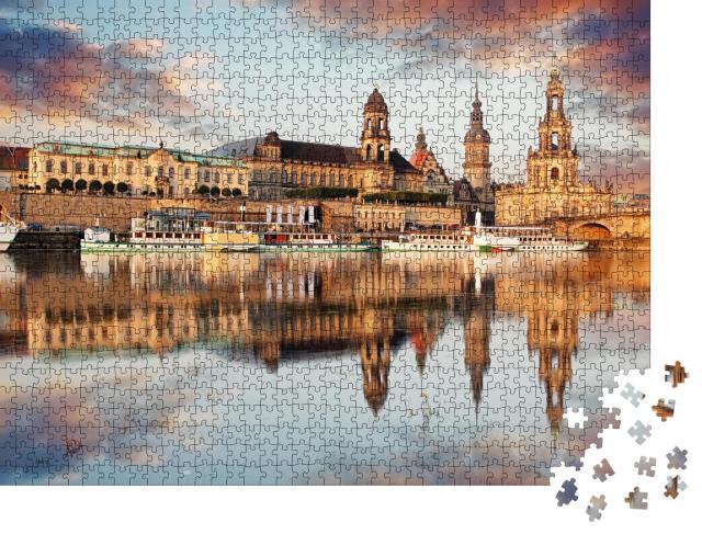 """Puzzle 1000 Teile """"Panorama der Dresdner Altstadt über die Elbe"""""""