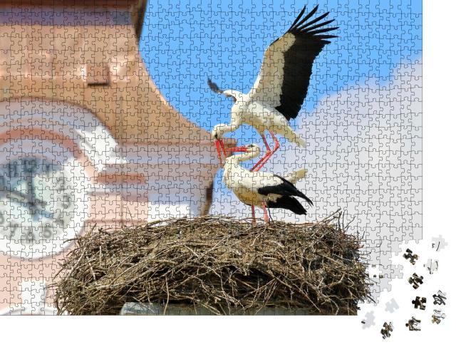 """Puzzle 1000 Teile """"Paarung von Weißstörchen im Nest auf einer Kirche"""""""