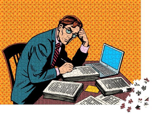 """Puzzle 1000 Teile """"Mann mit Stapel von Papier: Büroarbeit"""""""