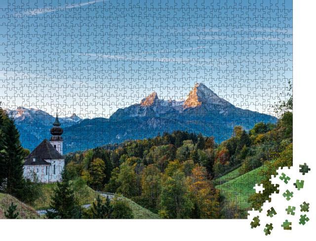 """Puzzle 1000 Teile """"Herbstmorgen über Maria Gern und dem Watzmann, Deutschland"""""""