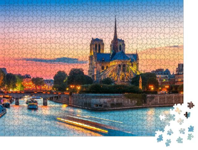 """Puzzle 1000 Teile """"Malerisches Stadtbild der Kathedrale von Notre Dame de Paris, Frankreich"""""""