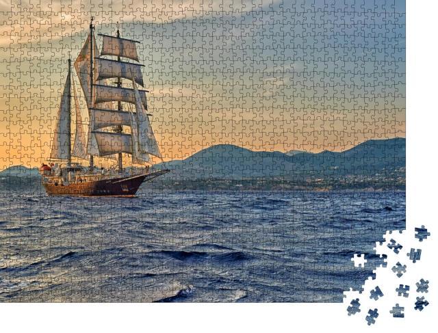 """Puzzle 1000 Teile """"Ein Segelschiff auf seiner Reise"""""""