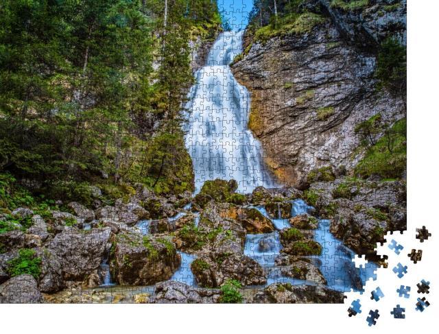 """Puzzle 1000 Teile """"Wasserfall bei Kenzenhütte, Ammergauer Allgäuer Alpen"""""""