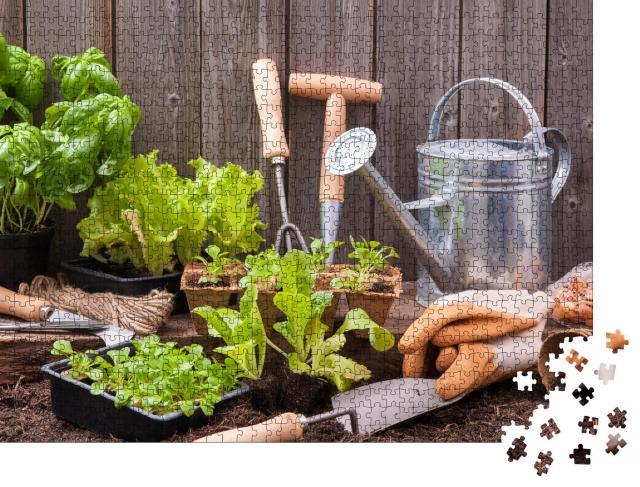 """Puzzle 1000 Teile """"Gartengeräte zum Setzen von Kopfsalat"""""""