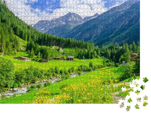 """Puzzle 1000 Teile """"Grüne Wiesen in den Zillertaler Alpen, Österreich"""""""