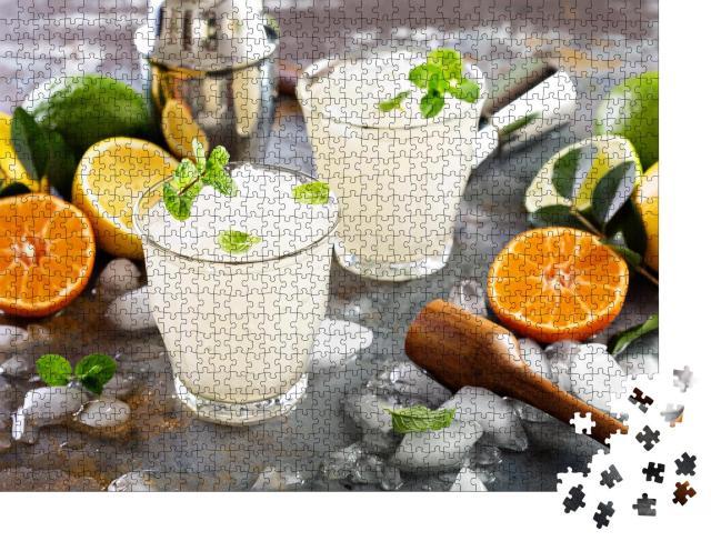 """Puzzle 1000 Teile """"Erfrischender Sommercocktail: Margarita mit crushed Ice"""""""