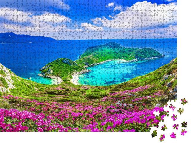 """Puzzle 1000 Teile """"Luftaufnahme von Porto Timoni, Region Afionas, Korfu"""""""