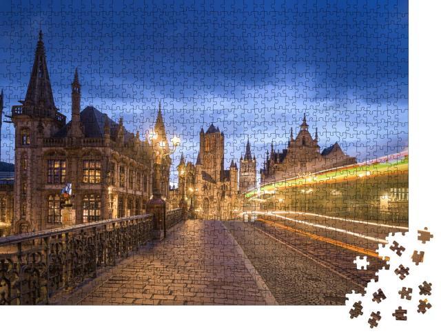 """Puzzle 1000 Teile """"St. Michael's Bridgte in der Altstadt von Gent, Belgien"""""""