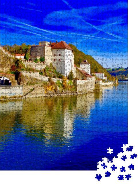 """Puzzle 1000 Teile """"Stadtzentrum mit Donau, Passau, Bayern, Deutschland"""""""