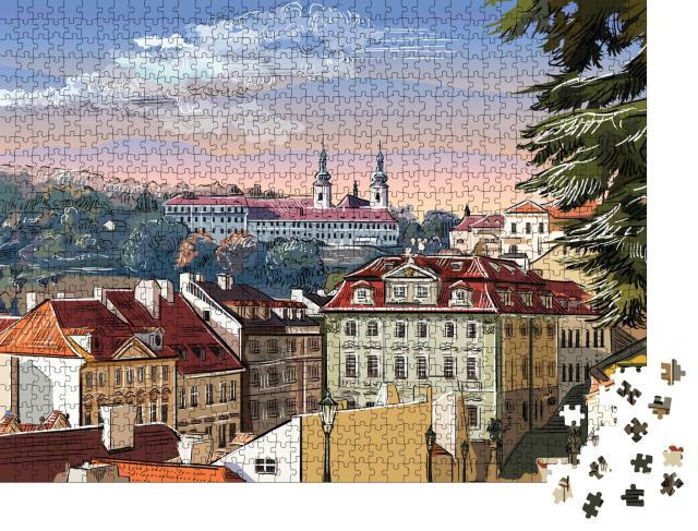 """Puzzle 1000 Teile """"Panorama-Stadtbild von Prag mit Vektor-Handzeichnung, Tschechische Republik"""""""