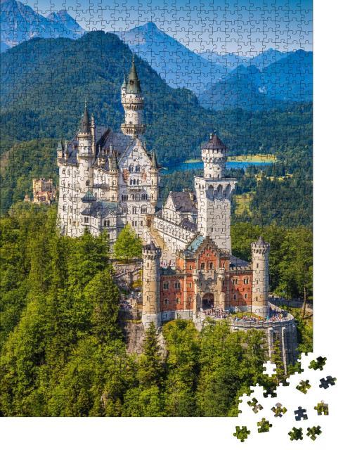 """Puzzle 1000 Teile """"Schloss Neuschwanstein, erbaut im 19. Jahrhundert für König Ludwig II."""""""