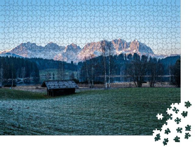 """Puzzle 1000 Teile """"Schwarzsee mit Blick auf den Wilden Kaiser"""""""