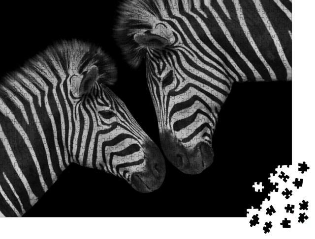 """Puzzle 1000 Teile """"Vertrauen: Zebra-Jungtier und seine Mutter"""""""