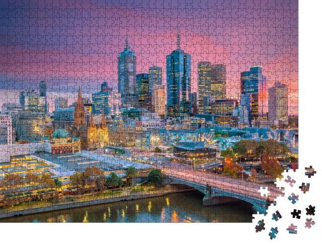 """Puzzle 1000 Teile """"Skyline von Melbourne am Abend, Australien"""""""