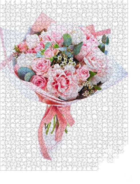 """Puzzle 1000 Teile """" Blumenstrauß aus bunten Blumen zur Hochzeit"""""""