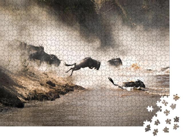 """Puzzle 1000 Teile """"Spektakuläre Aufnahme von Gnus, die den Mara-Fluss überqueren, Kenia"""""""