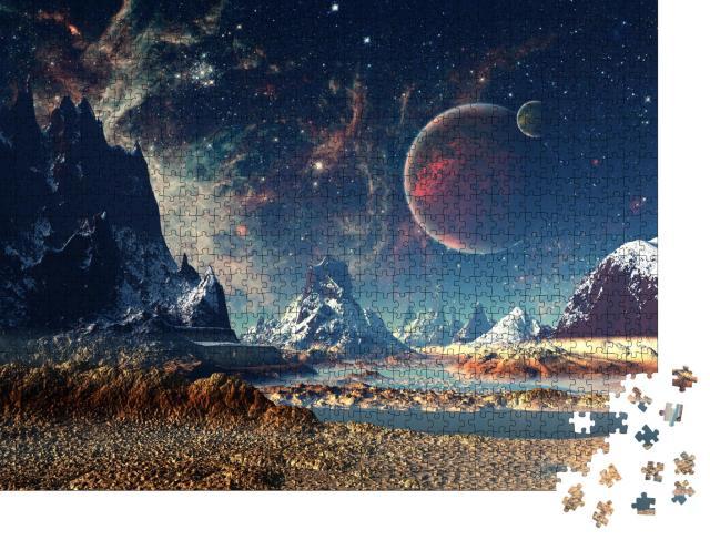 """Puzzle 1000 Teile """"Außerirdischer Planet mit Mond und Bergen"""""""