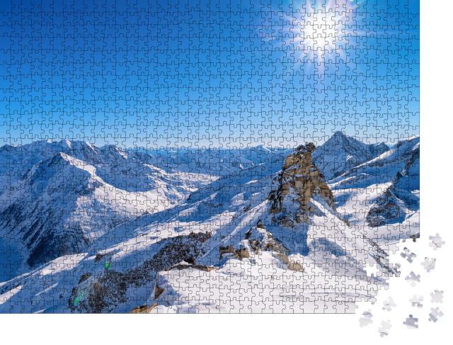 """Puzzle 1000 Teile """"Majestätische Gipfel am Hintertuxer Gletscher, Zillertal, Österreich"""""""