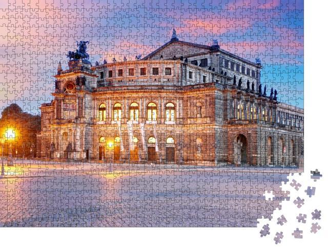 """Puzzle 1000 Teile """"Zartes Morgenrot über der Semperoper in Dresden"""""""