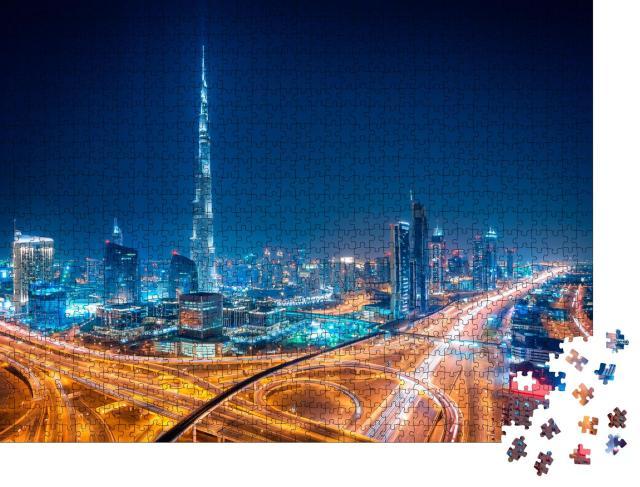 """Puzzle 1000 Teile """"Dubai bei Nacht, Vereinigte Arabische Emirate"""""""