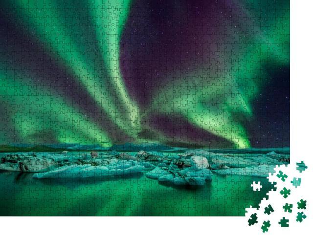 """Puzzle 1000 Teile """"Eine wunderbare Nacht mit Kp 5 Nordlichtern über der Gletscherlagune in Island"""""""