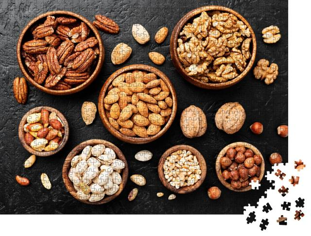 "Puzzle 1000 Teile ""Superfoods: Nussmischung in Holzschalen"""