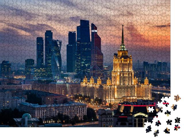 """Puzzle 1000 Teile """"Moskauer Skyline: Sonnenuntergang über der City, Russland"""""""