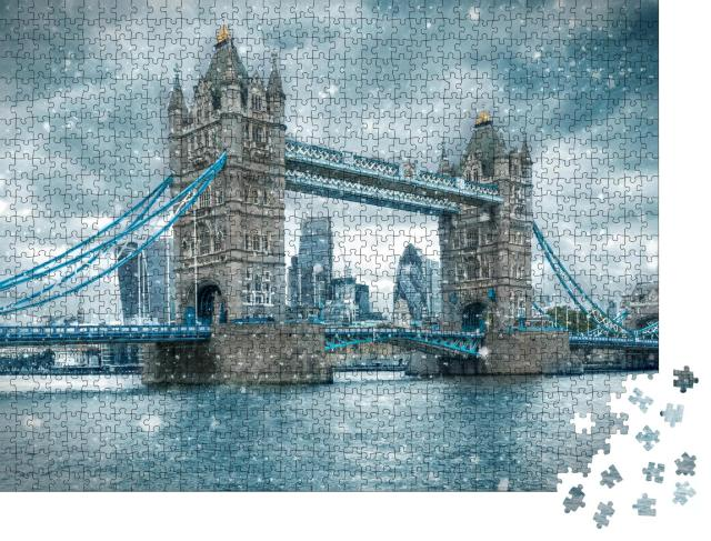 """Puzzle 1000 Teile """"Schneesturm an der Tower Bridge, London, Vereinigtes Königreich"""""""