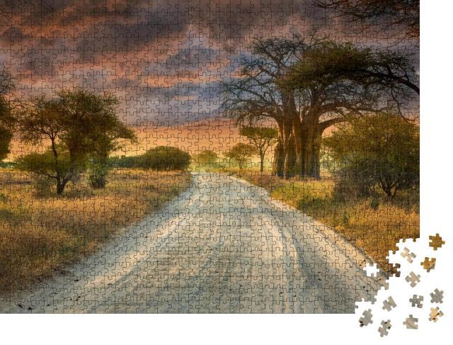 """Puzzle 1000 Teile """"Der beste Weg zur Pirschfahrt im Serengeti-Naturpark von Tansania"""""""