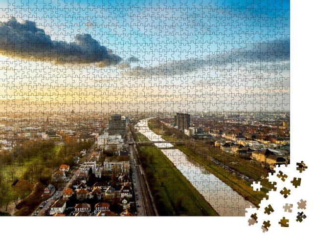 """Puzzle 1000 Teile """"Mannheim und Ludwigshafen am Neckar, Deutschland"""""""