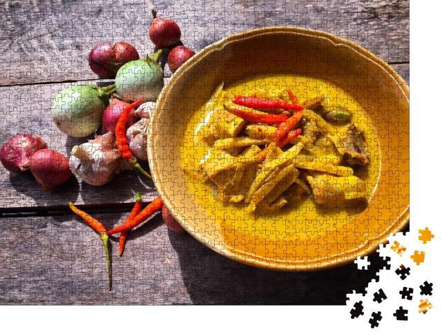 """Puzzle 1000 Teile """"Kokosnuss-Curry-Huhn mit Bambussprossen, Essen, Thailand"""""""
