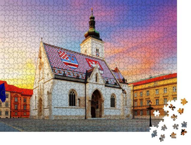 """Puzzle 1000 Teile """"Kirche von Zagreb: St. Markus"""""""