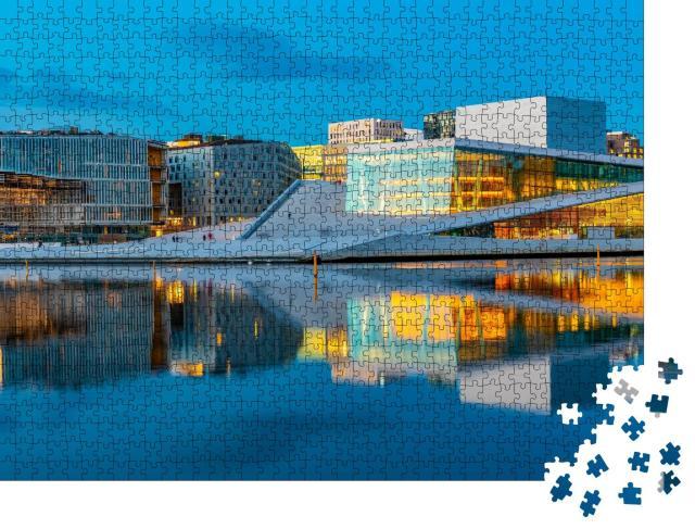 """Puzzle 1000 Teile """"Nachtansicht des Opernhauses von Oslo, Norwegen"""""""