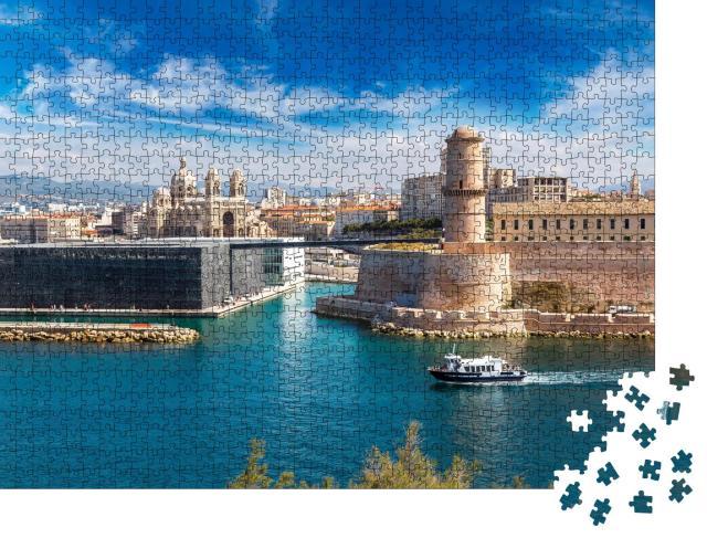 """Puzzle 1000 Teile """"Schloss Saint Jean und Kathedrale de la Major, Marseille, Frankreich"""""""