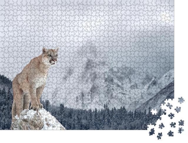 """Puzzle 1000 Teile """"Porträt eines Pumas in den winterlichen Bergen"""""""
