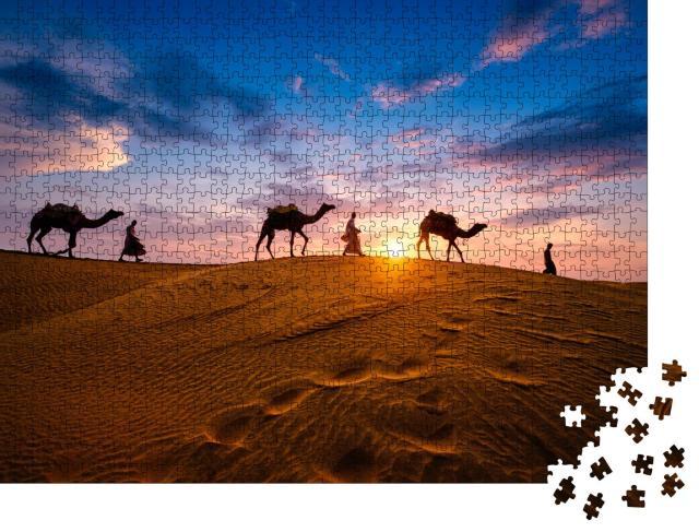 """Puzzle 1000 Teile """"Kameltreiber in den Sanddünen der Wüste Thar, Indien"""""""