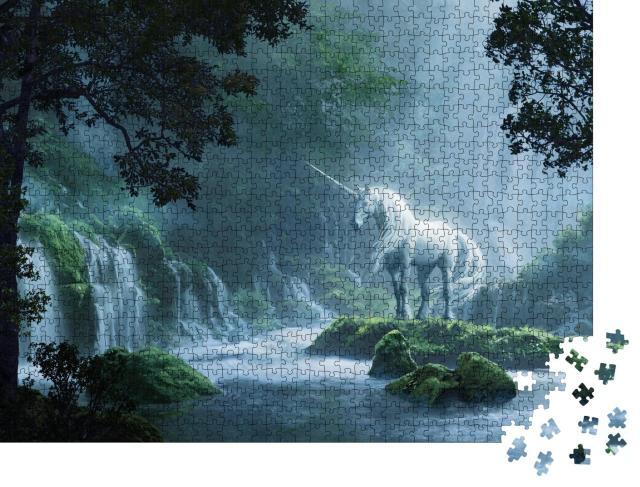 """Puzzle 1000 Teile """"Ein schönes Einhorn in einem magischen Wald, digitale Illustration"""""""