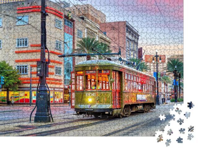 """Puzzle 1000 Teile """"Straßenbahn in der Innenstadt von New Orleans, USA"""""""