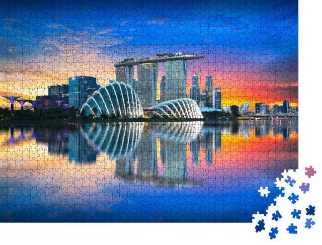 """Puzzle 1000 Teile """"Singapur: Skyline der Stadt im Abendlicht"""""""