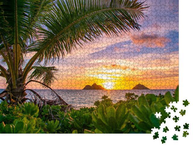 """Puzzle 1000 Teile """"Wunderschöner tropischer Sonnenaufgang über Lanikai Beach, Oahu, Hawaii"""""""